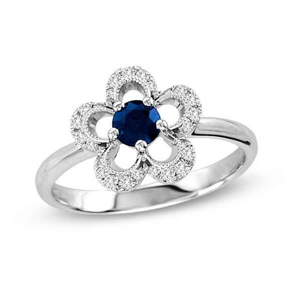 be2e5c7cd076c Anel Flor em Ouro Branco 18K com Safira Azul e Diamantes lapidação brilhante