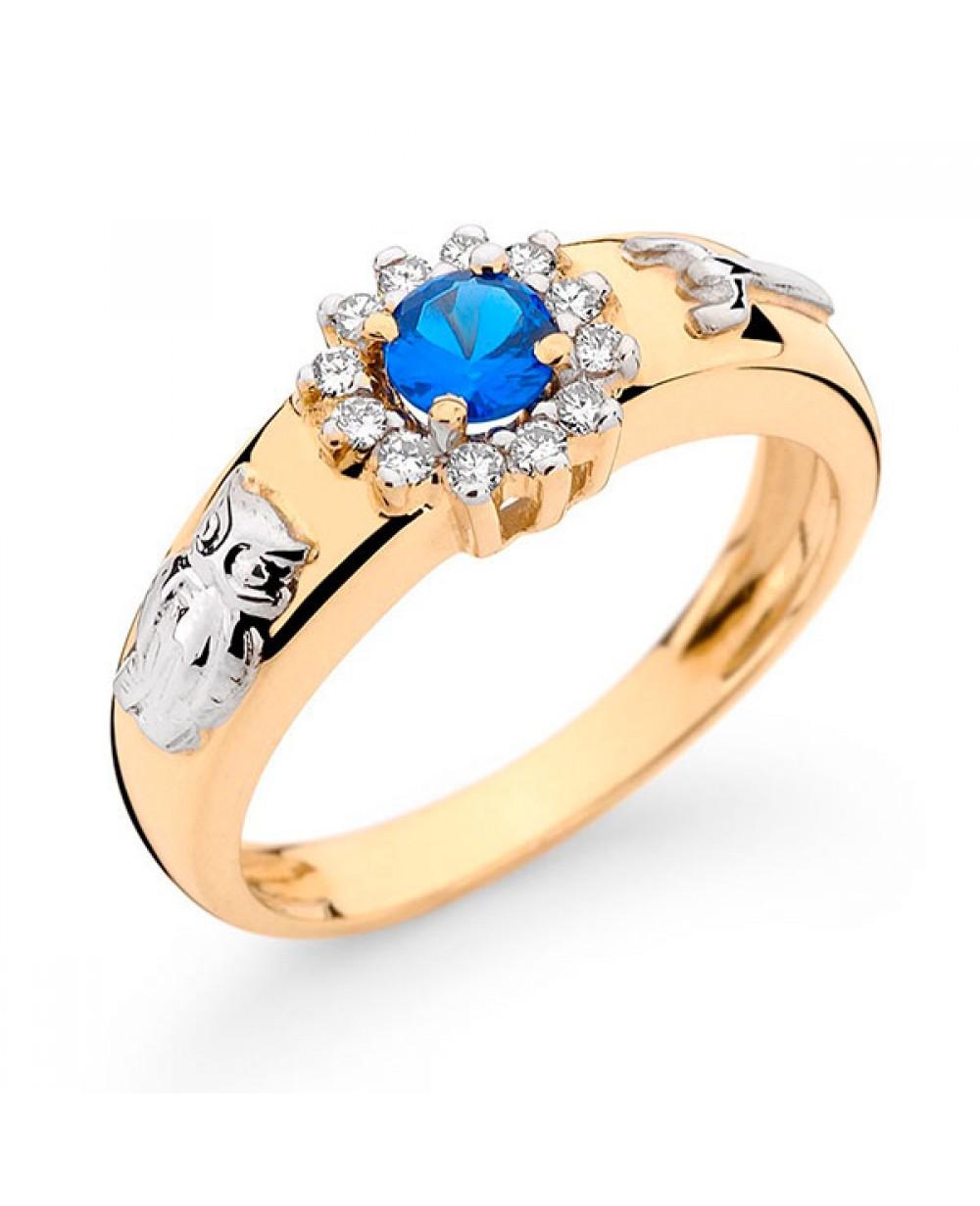 15464a0015e Mais Imagens. Anel Formatura em Ouro 18K com Pedra Natural Safira e  Diamantes lapidação brilhante