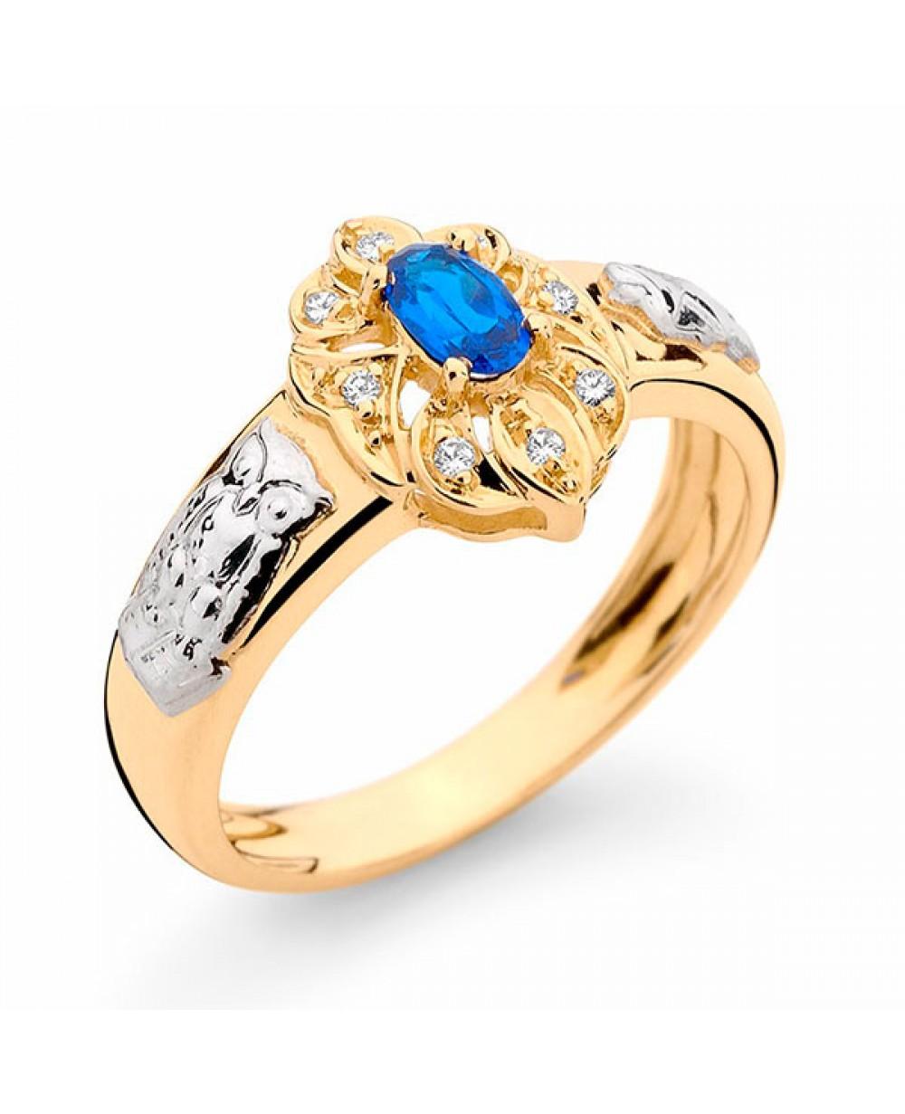 Anel Formatura em Ouro 18K com Pedra Natural Safira e Diamantes ... 587a6c7495