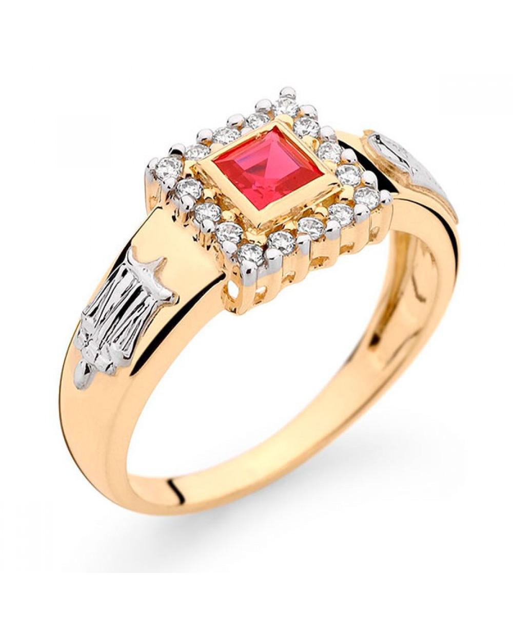 Anel Formatura em Ouro 18K com Pedra Natural Rubi e Diamantes ... 686a275bf5
