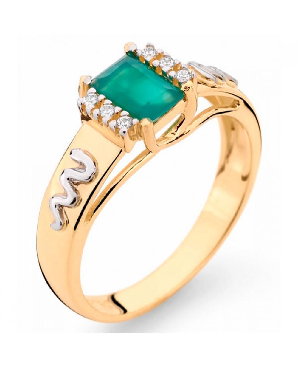 Anel Formatura em Ouro 18K com Pedra Natural Esmeralda e Diamantes ... bc1459b2da