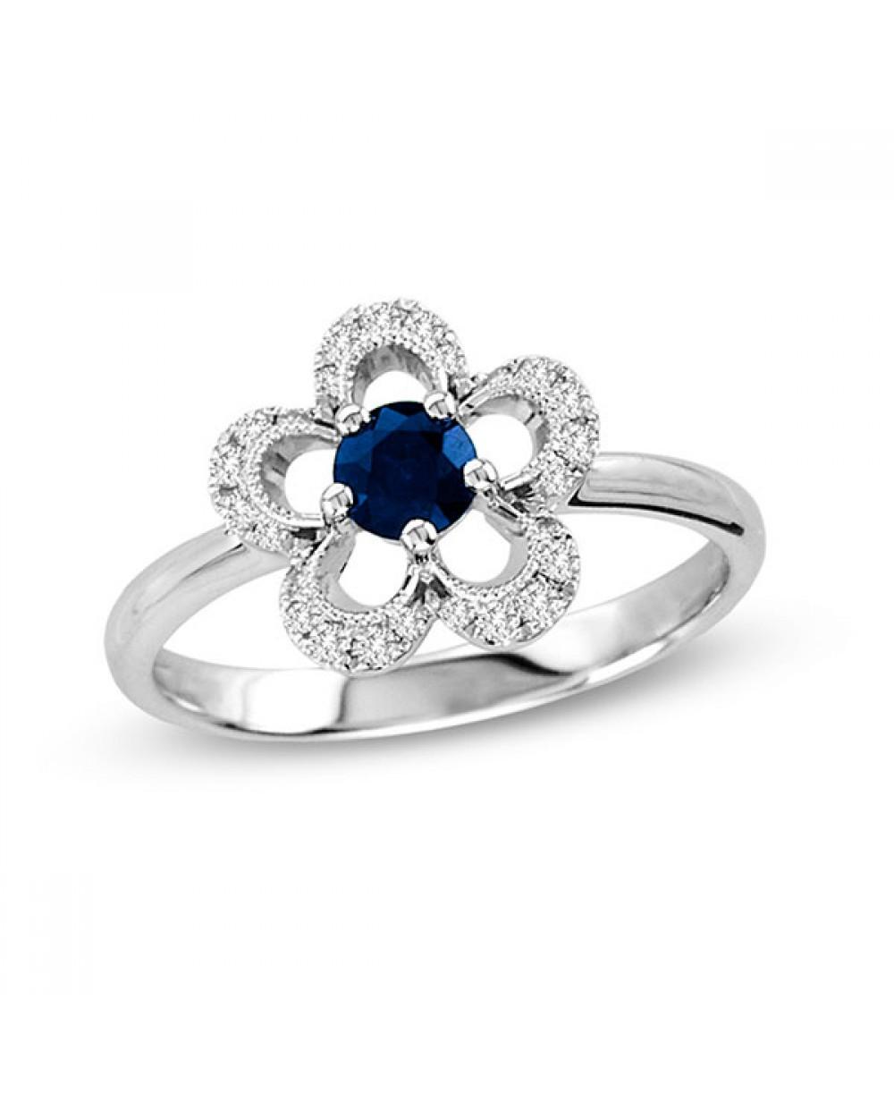 490f1b09afa85 Mais Imagens. Anel Flor em Ouro Branco 18K com Safira Azul e Diamantes  lapidação brilhante
