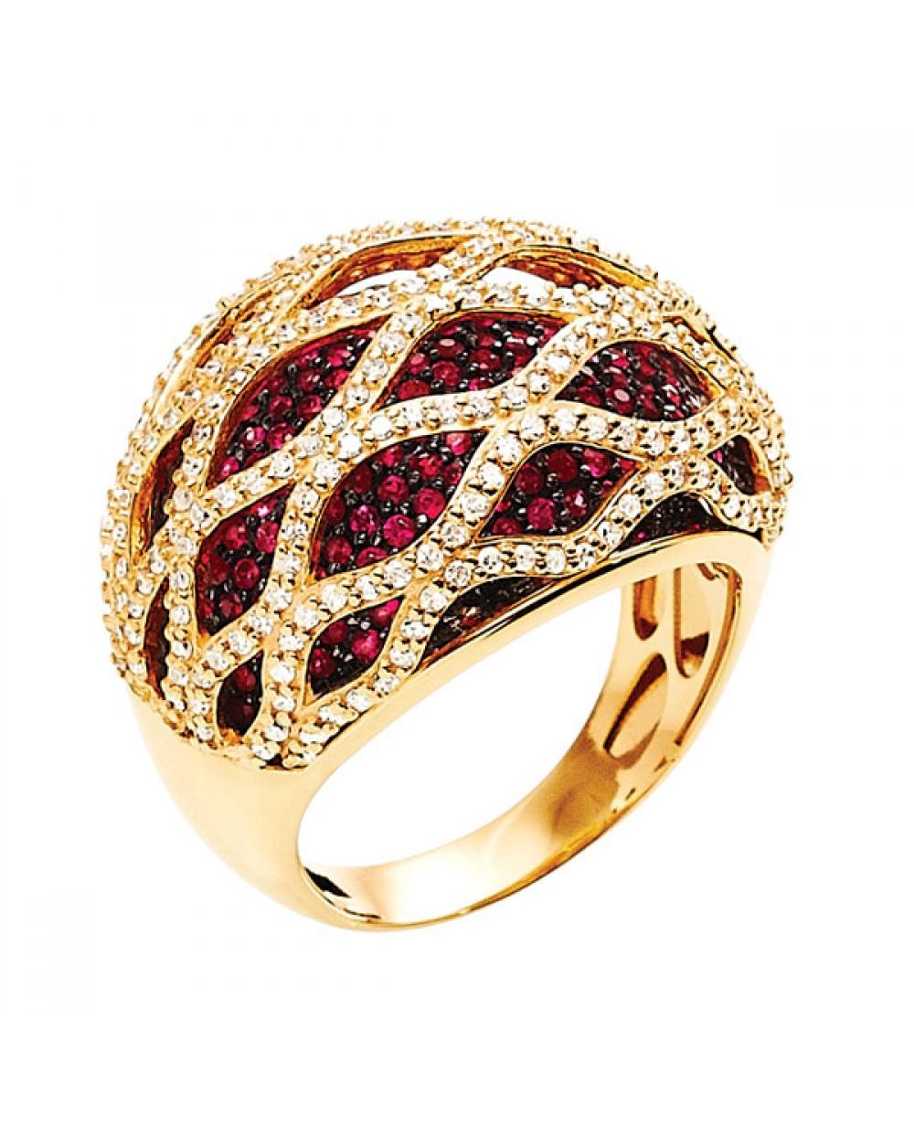 79401cb3bba Anel em Ouro 18K com Pedras Rubis e Diamantes lapidação brilhante