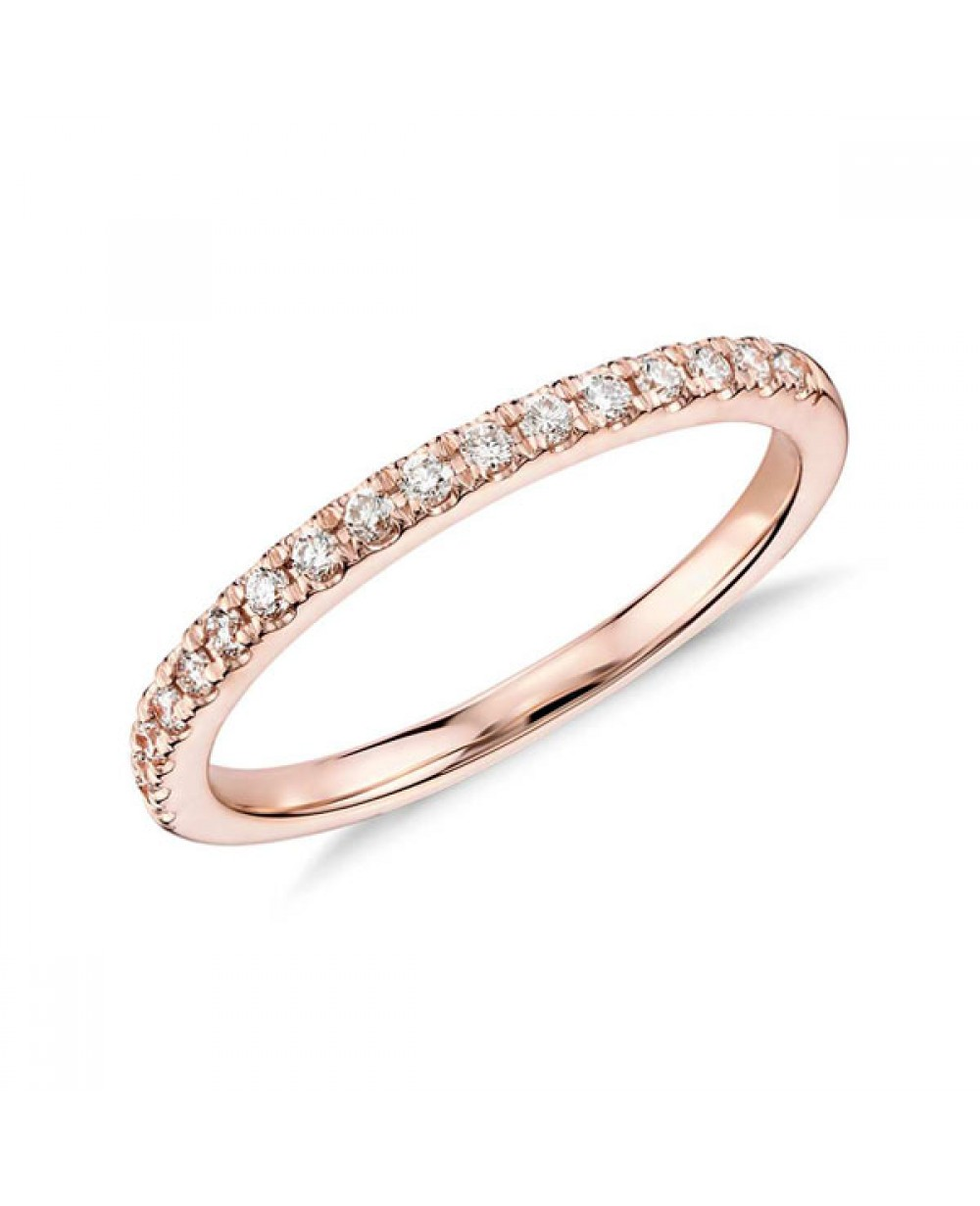 23c7a7ad1734e Mais Imagens. Meia Aliança em Ouro Rosé 18K e Diamantes lapidação brilhante