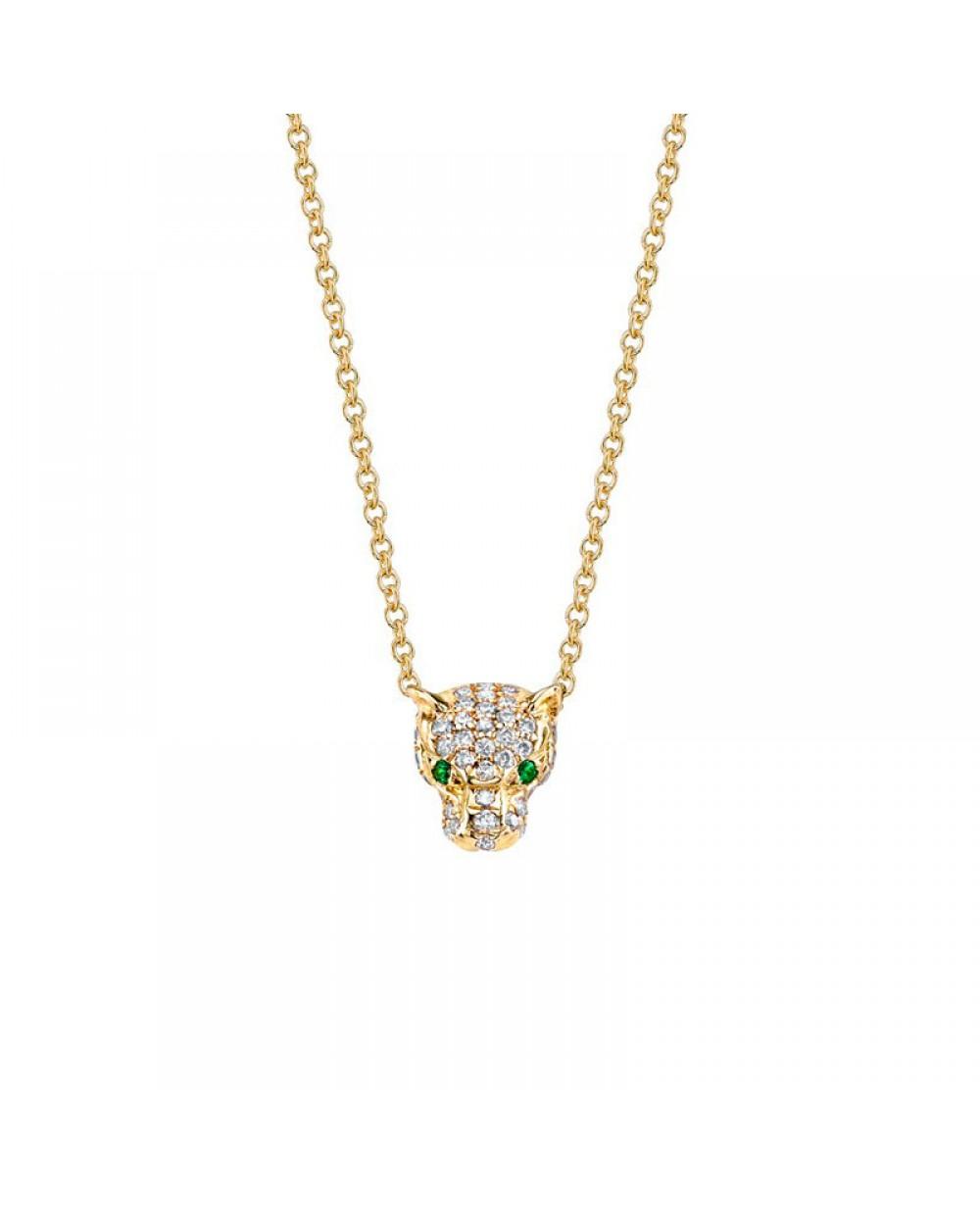 ac474d770cabc Colar Pantera em Ouro 18K com Esmeraldas e Diamantes lapidação brilhante