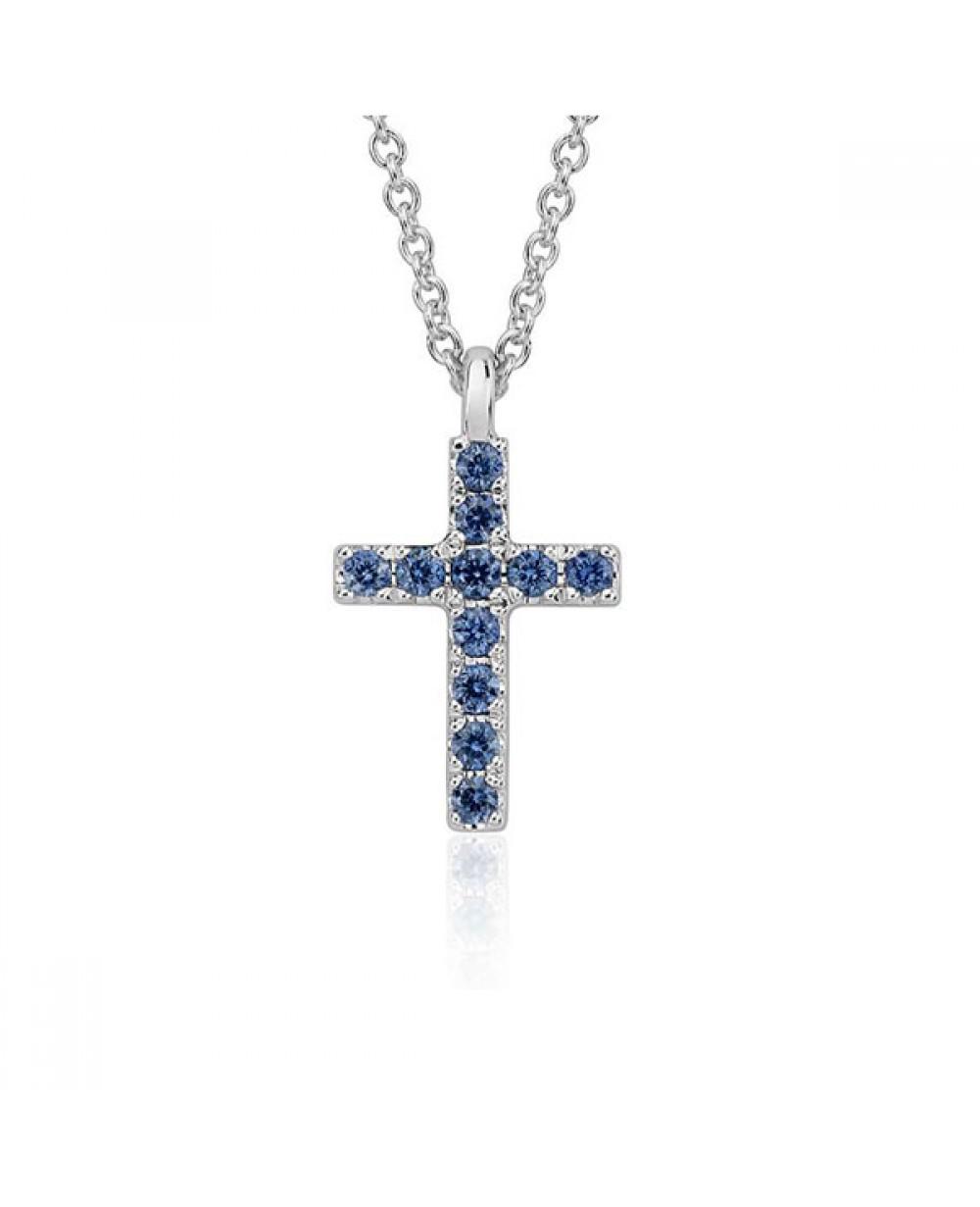Colar Crucifixo em Ouro Branco 18K com Pedras Safira 3f4dd95349