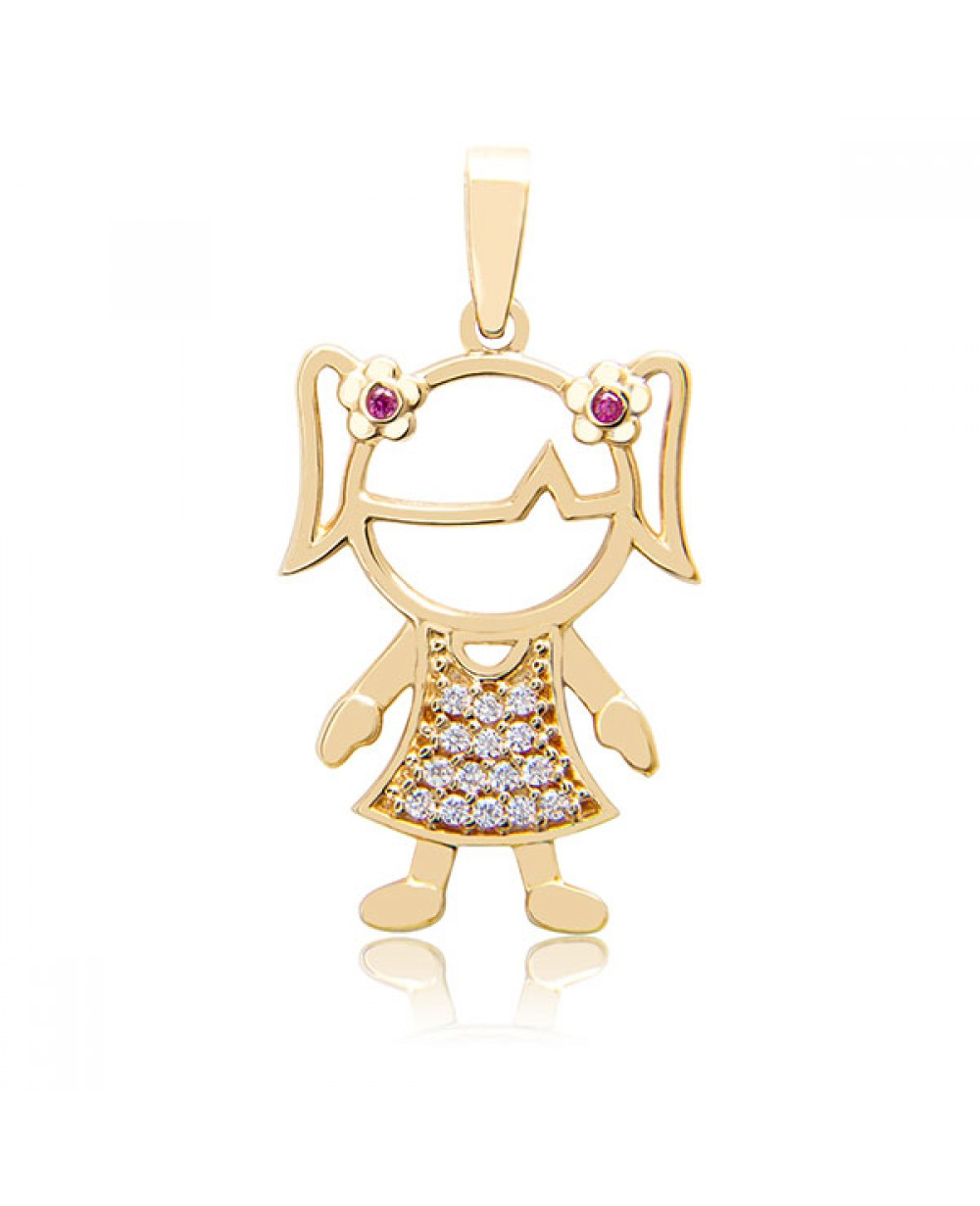 8996558f3b0b5 Pingente Menina em Ouro 18K com Rubis e Diamantes lapidação brilhante