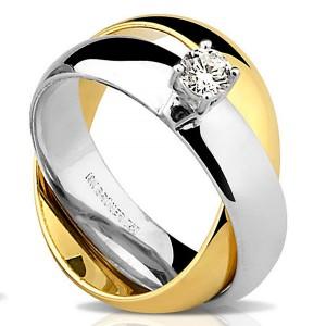 Par de Alianças em Ouro Dourado e Branco 18K com Diamante
