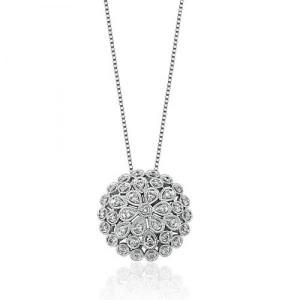 Colar em Ouro Branco 18K em Filigrana com Diamantes