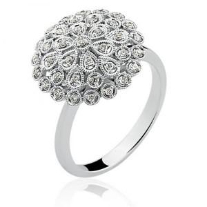 Anel em Ouro Branco 18K em Filigrana com Diamantes