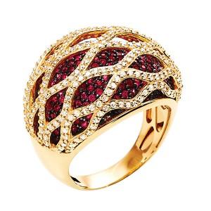 Anel em Ouro 18K com Pedra Rubi e Diamantes