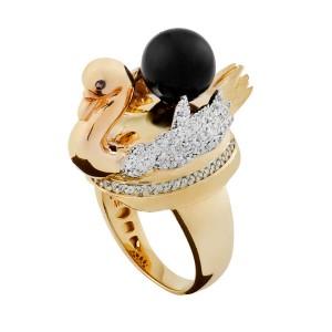 Anel em Ouro 18K com Pedra Topázio e Diamantes