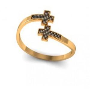 Anel Cruz em Ouro 18K com Diamantes Negros