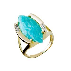 Anel em Ouro 18K com Pedra Navete e Diamantes