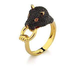 Anel em Ouro 18K com Pedra Citrino e Diamantes