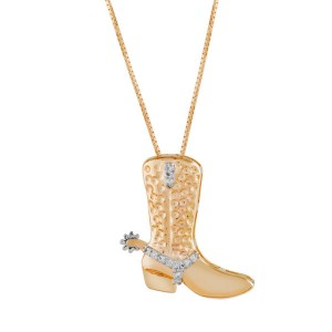 Colar Bota Cowboy em Ouro 18K e Diamantes