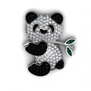 Pingente Panda em Ouro 18K com Diamantes Brancos e Negros