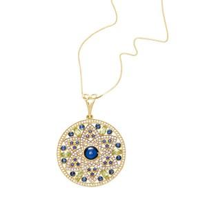 Colar Mandala em Ouro 18K com Pedra Safira e Diamantes