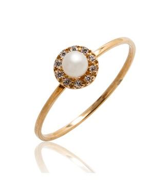 Anel Solitário em Ouro 18K com Pérola e Diamantes