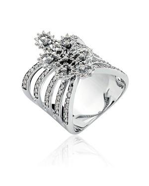 Anel em Ouro Branco 18K com Diamantes