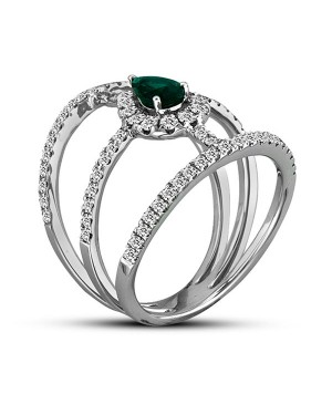 Anel em Ouro Branco 18K com Esmeralda e Diamantes