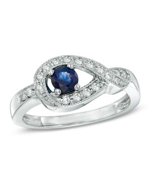 9799bd00542cd Anel Infinito em Ouro Branco 18K com Safira Azul e Diamantes lapidação  brilhante ...