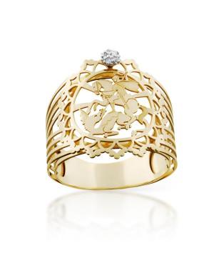 Anel São Jorge em Ouro 18K com Diamante