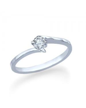 Anel Solitário em Ouro Branco 18K e Diamante