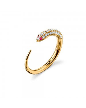 Anel Cobra em Ouro 18K com Rubi e Diamantes