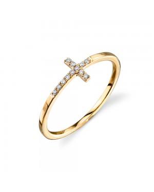 Anel Cruz em Ouro 18K e Diamantes
