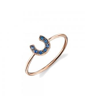 Anel Ferradura em Ouro Rosé 18K e Safira Azul