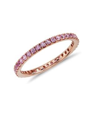 Anel em Ouro Rosé 18K com Safiras Pink