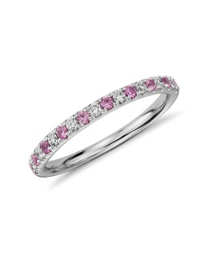 Meia Aliança em Ouro Branco 18K com Safiras Pink e Diamantes