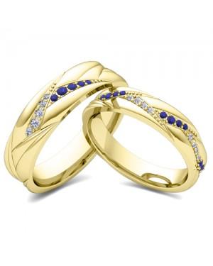 Par de Alianças em Ouro 18K com Safiras e Diamantes