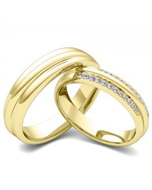 Par de Alianças em Ouro 18K e Diamantes