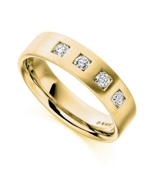 Aliança Masculina em Ouro 18K e Diamantes
