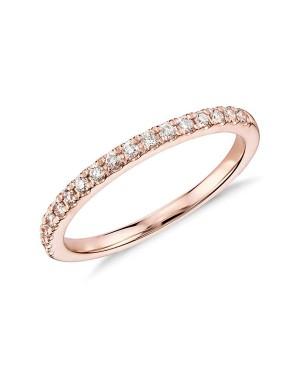Meia Aliança em Ouro Rosé 18K e Diamantes