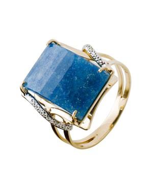 Anel em Ouro 18K com Pedra Cristal Azul