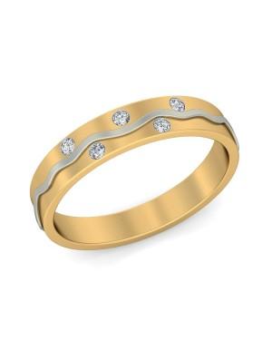 Anel Masculino em Ouro Amarelo e Branco 18K e Diamantes