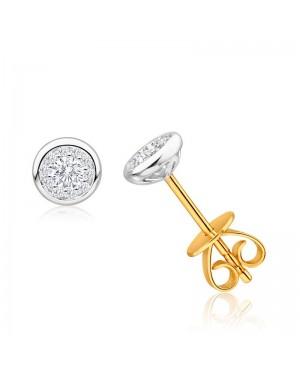Brinco Solitário em Ouro Branco e Amarelo 18K com Diamantes