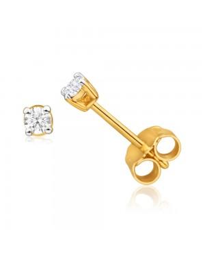 Brinco Solitário em Ouro 18K com Diamantes