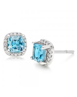 Brinco em Ouro Branco 18K com Topázio Azul e Diamantes
