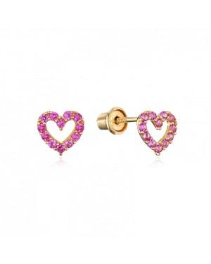 Brinco Coração em Ouro 18K e Safira Pink