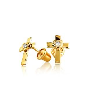 Brinco Cruz em Ouro 18K e Diamantes