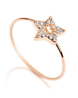 Anel Estrela em Ouro Rosé 18K com Diamantes