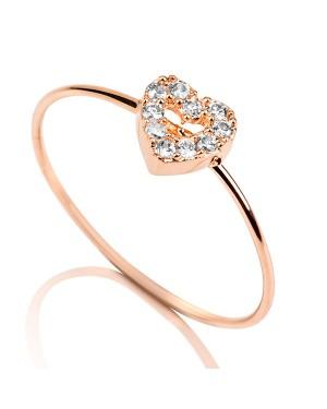 Anel Coração em Ouro Rosé 18K com Diamantes