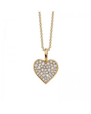 Colar Coração em Ouro 18K e Diamantes