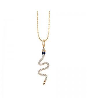 Colar Cobra em Ouro 18K com Safira Azul e Diamantes