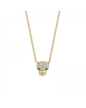 Colar Pantera em Ouro 18K com Esmeraldas e Diamantes