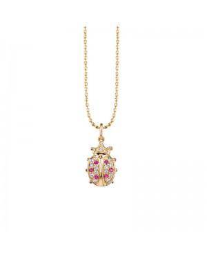 Colar Joaninha em Ouro 18K com Rubi e Diamantes